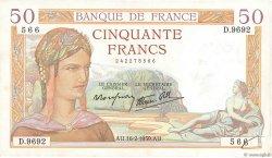 50 Francs CÉRÈS modifié FRANCE  1939 F.18.22 pr.TTB