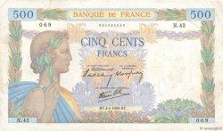 500 Francs LA PAIX FRANCE  1940 F.32.01 TB