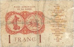 1 Franc MINES DOMANIALES DE LA SARRE FRANCE  1919 VF.51.02 B