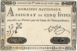 5 Livres FRANCE  1792 Ass.30a XF+