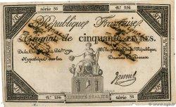 50 Livres FRANKREICH  1792 Ass.39f fSS