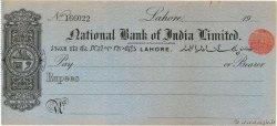 - Rupees INDE Lahore 1917 DOC.Chèque pr.SUP