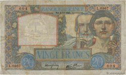 20 Francs TRAVAIL ET SCIENCE FRANCE  1941 F.12.20 B+