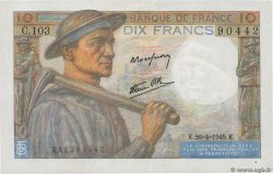 10 Francs MINEUR  FRANCE  1945 F.08.14 XF-