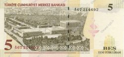 5 Lira TURQUIE  2005 P.217 NEUF