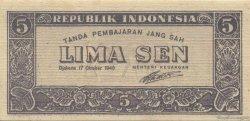 5 Sen INDONÉSIE  1945 P.014 NEUF