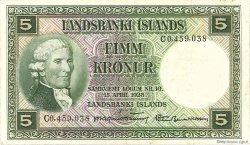 5 Kronur ISLANDE  1948 P.32b TTB