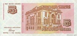 5 Novih Dinara YOUGOSLAVIE  1994 P.146 TTB