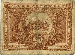 25 Centimes marron MONACO  1920 P.01a B