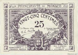 25 Centimes violet MONACO  1920 P.02c NEUF