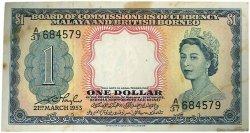 1 Dollar MALAISIE et BORNEO  1953 P.01a TTB