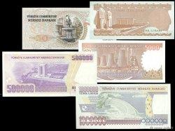 Lot de 5 billets TURQUIE  1974 P.LOT NEUF