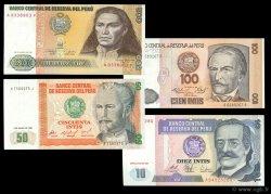 Lot de 4 billets Monde PÉROU  1987 P.129-131-132-134 NEUF