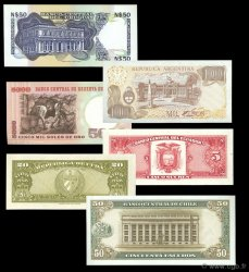 Lot de 6 billets Monde LOTS  1960 P.140-117-113-061A-080-304 NEUF