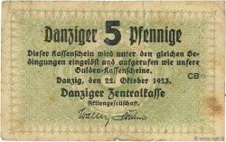 5 Pfennige DANTZIG  1923 P.34a B à TB