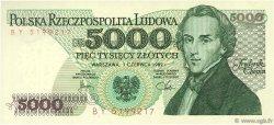 5000 Zlotych POLOGNE  1982 P.150a NEUF