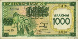 1000 Drachmes sur 100 Drachmes GRÈCE  1939 P.111 TTB