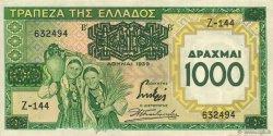 1000 Drachmes sur 100 Drachmes GRÈCE  1939 P.111 SUP