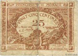 25 Centimes MONACO  1920 P.01a B+