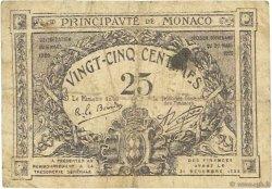 25 Centimes MONACO  1921 P.02c B+