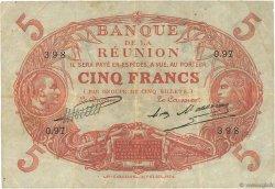 5 Francs Cabasson rouge ÎLE DE LA RÉUNION  1930 P.14 TB+