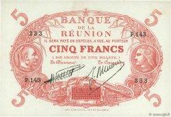 5 Francs Cabasson rouge ÎLE DE LA RÉUNION  1938 P.14 SUP+