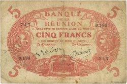 5 Francs Cabasson rouge ÎLE DE LA RÉUNION  1944 P.14 pr.TB