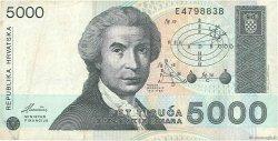 5000 Dinara CROATIE  1992 P.24a TB+