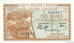 5 Francs BURUNDI  1964 P.08 pr.NEUF