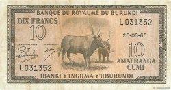10 Francs BURUNDI  1965 P.09 TTB