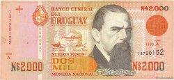 2000 Nuevos Pesos URUGUAY  1989 P.068a TB