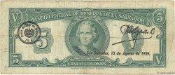 5 Colones SALVADOR  1957 P.092b B