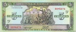 5 Colones SALVADOR  1990 P.138a TTB