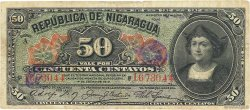 50 Centavos NICARAGUA  1910 P.043b TB