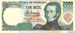 2000 Bolivares VENEZUELA  1994 P.074s SPL+