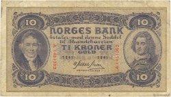 10 Kroner NORVÈGE  1941 P.08c TB