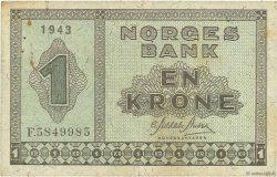 1 Krone NORWAY  1943 P.15a F