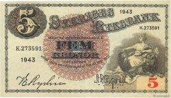 5 Kronor SUÈDE  1943 P.33z SUP