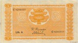 5 Markkaa FINLANDE  1922 P.076a TTB+