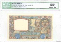 20 Francs SCIENCE ET TRAVAIL FRANCE  1939 F.12.01 pr.SPL