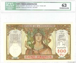 100 Francs TAHITI  1956 P.14cS SPL