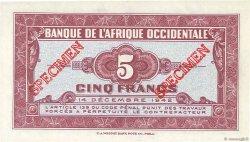 5 Francs type 1942 AFRIQUE OCCIDENTALE FRANÇAISE (1895-1958)  1942 P.28s2 NEUF