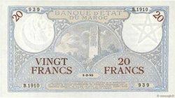 20 Francs 1920 modifié 1941 MAROC  1945 P.18b SUP