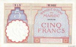 5 Francs 1922 modifié MAROC  1941 P.23Ab SPL