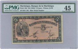 5 Francs MARTINIQUE  1942 P.16b SUP+