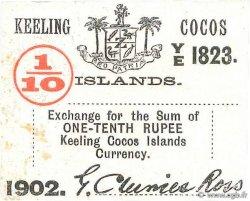 1/10 Rupee ÎLES KEELING COCOS  1902 PS.123 pr.SPL