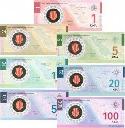 Lot de 7 billets Kina LOTS  2015 P.- NEUF