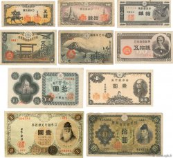 Lot de 10 Billets Japon JAPON  1916 p.30-40-52-53-58-59-61-84-85-87 TB à TTB