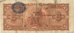 5 Pesos MEXIQUE  1909 PS.0257c TB