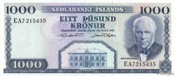 1000 Kronur ISLANDE  1961 P.46a SUP
